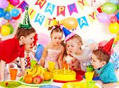stock photo of clown face  - Children happy birthday party  - JPG