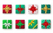Gift Box With Green, Red And Golden Ribbon And Bow, Top View. Christmas, New Year Party, Happy Birth poster