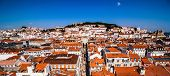 Panoramic View From The Elevador De Santa Justa To The Old Part Of Lisbon. Aerial Cityscape From San poster