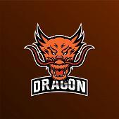 Dragon Vector Logo Template. Dragon Sport Gaming Mascot Logo Template. Mythological Animals Dragon S poster