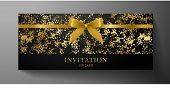 Luxurious Vip Invitation Template With Gold Blow, Ribbon On Black Textured Background. Premium Class poster
