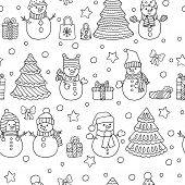 Winter Christmas Seamless Pattern With Cute Doodle Snowmen With Gifts, Coloring Page For Kids And Ad poster