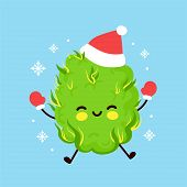 Cute Smiling Happy Weed Bud Organ In Christmas Hat And Gloves. Vector Flat Cartoon Character Illustr poster