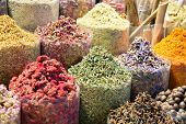 Colorful Spices At The Arab Street Market. Dubai Spice Souk In United Arab Emirates. poster