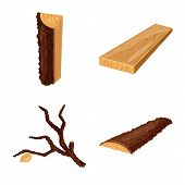 Vector Illustration Of Signboard And Wood Logo. Set Of Signboard And Wooden Vector Icon For Stock. poster