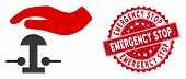 Vector Emergency Stop Icon And Corroded Round Stamp Seal With Emergency Stop Caption. Flat Emergency poster