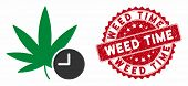 Vector Weed Time Icon And Grunge Round Stamp Seal With Weed Time Text. Flat Weed Time Icon Is Isolat poster