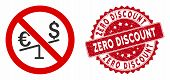 Vector No Forex Market Icon And Corroded Round Stamp Seal With Zero Discount Text. Flat No Forex Mar poster