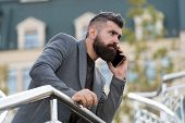 Mobile Is Lifestyle. Project Manager Use Mobile Device Outdoor. Bearded Man Talk On Mobile Phone. Mo poster