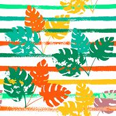 Sailor Stripes Vector Seamless Pattern, Orange Green Vivid Exotic Floral Fabric Design.  Botanical J poster