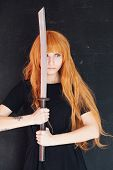 Fashionable Woman With Red Hair Anime Japan Sword poster