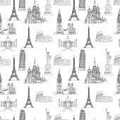Seamless Pattern Of Famous Places - Coliseum And Eifel Tower, Big Ben And Taj Mahal, Statye Of Liber poster