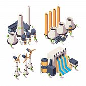 Nature Energy Factory. Powerful Ecology Geothermal Building Bio Development Sources Vector Isometric poster