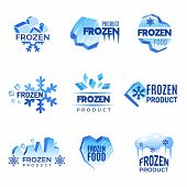 Ice Logo. Frozen Product Abstract Badges Cold And Ice Vector Symbols. Ice Cold Crystal Badge For Pro poster