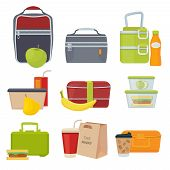 Lunch Boxes. School Healthy Daily Food Packages Bag With Fruits Salad Sandwich Snacks Products For K poster