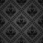 Classic Seamless Vector Black Pattern. Damask Orient Ornament. Classic Vintage Dark Background. Orie poster