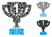 First Prize Cup Mosaic Of Tuberous Pieces In Various Sizes And Color Tones, Based On First Prize Cup poster