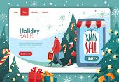 Christmas New Year Landing Page. Christmas New Year Sales Invitation Landing Page In Cartoon Style W poster