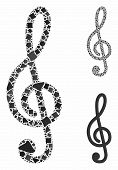 Treble Clef Mosaic Of Joggly Elements In Variable Sizes And Color Tints, Based On Treble Clef Icon.  poster