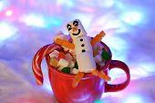 The Happy Marshmallow Snowman In Mag, Snow Decoration, Garland Snow Illumination poster