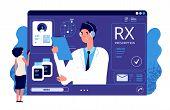 Rx Prescription Online. Medical App, Online Prescription. Vector Doctor, Patient, Painkiller Medicat poster