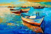 Original Oil Painting Of Boats And Jetty(pier) On Canvas.sunset Over Ocean.modern Impressionism poster