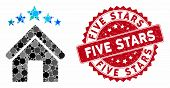 Mosaic Apartment Stars And Rubber Stamp Watermark With Five Stars Caption. Mosaic Vector Is Composed poster