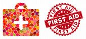 Mosaic First Aid And Corroded Stamp Seal With First Aid Phrase. Mosaic Vector Is Formed With First A poster