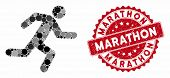 Mosaic Running Man And Rubber Stamp Seal With Marathon Text. Mosaic Vector Is Designed With Running  poster