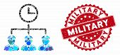 Mosaic Time Army And Rubber Stamp Watermark With Military Text. Mosaic Vector Is Formed With Time Ar poster