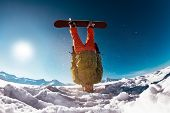 Snowboarder Stands Upside Down On Head Against Mountains. Ski Concept poster