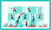 Vector Design Of Snakes And Ladder In Collaboration And Teamwork. Challenges In Business. Player Con poster