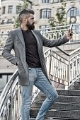 Best Phone For Work. Businessman Make Video Call On Mobile Phone. Bearded Man Use Phone Camera For V poster