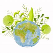 Planet Earth. Green Planet. Earth Day. Save The Planet Green. Hand Drawn Illustration. Greenery Wate poster