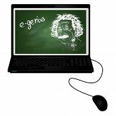 E-genius/laptop With Albert Einstein Portrait With Chalk On Chalkboard On It Screen poster