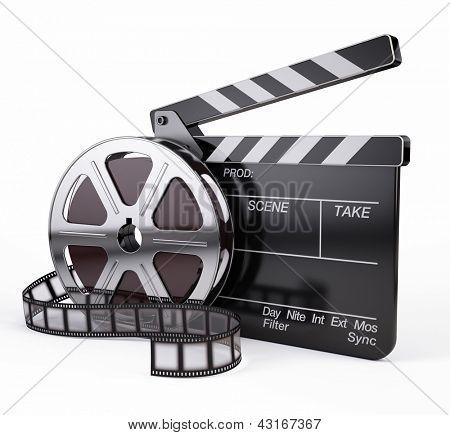 Постер, плакат: Кино и Клаппер Совет видео значок, холст на подрамнике
