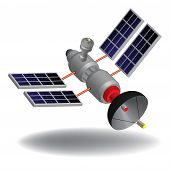 picture of long distance  - Isolated high tech communication satellite with various transponders - JPG