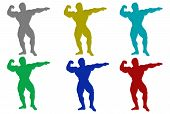 Furry Body Builder Silhouettes poster