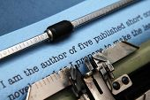 image of typewriter  - Close up of typewriter and Author letter to publisher