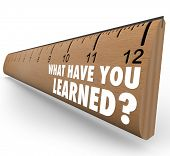The question What Have You Learned? on a wooden ruler asking you to assess what knowledge you have a