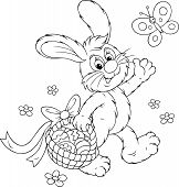 foto of cony  - Rabbit walking with a basket of painted Easter eggs - JPG