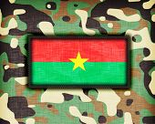 stock photo of ami  - Amy camouflage uniform with flag on it Burkina Faso - JPG