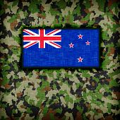 stock photo of ami  - Amy camouflage uniform with flag on it New Zealand - JPG