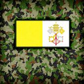 stock photo of ami  - Amy camouflage uniform with flag on it Vatican City - JPG