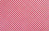 stock photo of tartan plaid  - A red checkered fabric closeup tablecloth texture - JPG