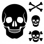 pic of skull cross bones  - Vector human skull cross bones symbol - JPG