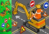 Isometric Mini Excavator With Man At Work