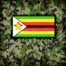 foto of ami  - Amy camouflage uniform with flag on it Zimbabwe - JPG