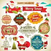 Set of Santa Claus, Christmas elf with vintage labels, ornaments and icon elements for Christmas