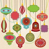 stock photo of tree trim  - Vector Collection of Retro Christmas Ornaments and Baubles - JPG